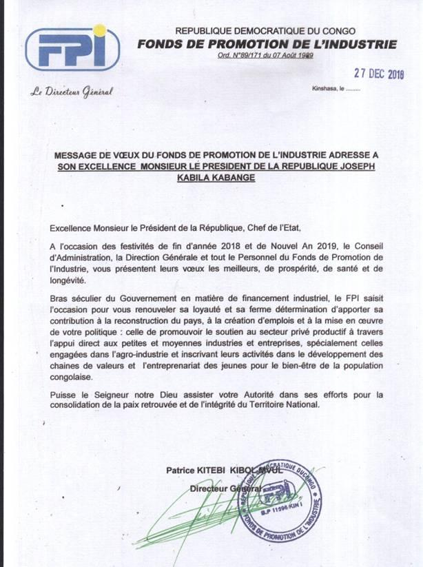 MESSAGE DE VŒUX DU FONDS DE PROMOTION DE L'INDUSTRIE ADRESSE A SON EXCELLENCE MONSIEUR LE PRESIDENT DE LA REPUBLIQUE JOSEPH KABILA KABANGE